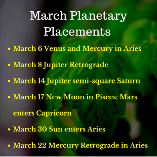 March Planetary Placements